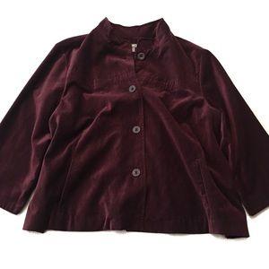J. Jill Maroon Velvet Cape Blazer Size XL